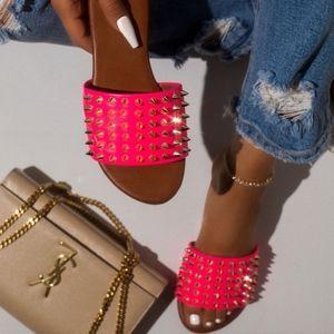 Shoes - Neon Pink Studded Slide Sandal